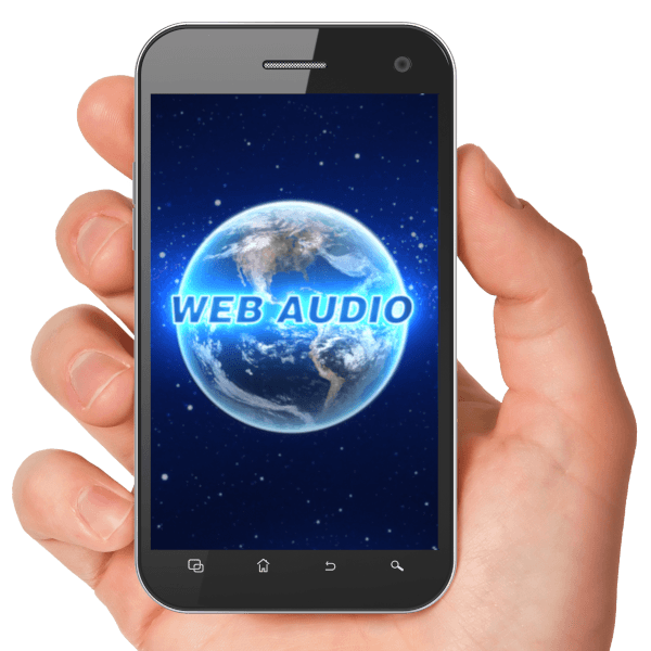 Picture of a hand holding a smartphone with the webaudio app picture in the center