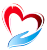 Picture of a red heart being held by a blue hand