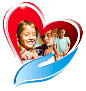 Picture of a red heart being held by a blue hand with 3 kids faces blended in the middle reading braille