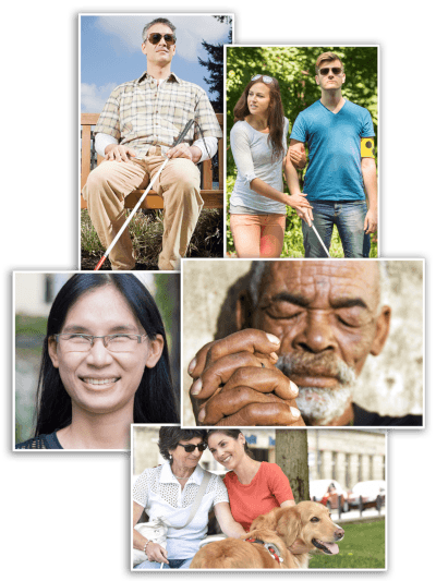 a collage picture built as a montage of five different blind and visually impaired people