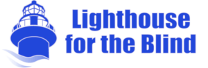 a blue and white colored picture of a lighthouse and text for the 'Lighthouse for the blind'
